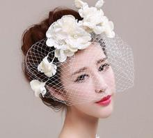 Bridal Flower Fascinator Lace Pearl Simulated Bride Hat Ivory Bridal Veil Hair Clip Headwear Headband Accessories 1pcs/lot(China)