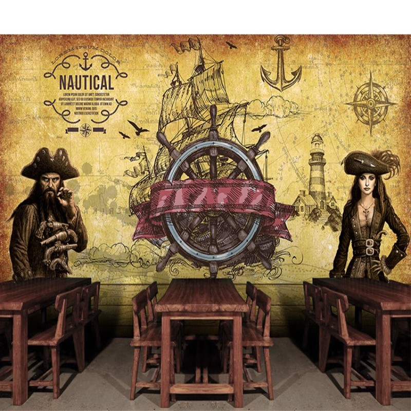 papel de parede 3d pirate treasure large mural wallpaper Room Escape casual restaurant ktv wine bars background wallpaperv<br><br>Aliexpress