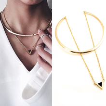 Fashion Women Gold Big Circle Choker Necklace Chain Enamel Triangle Torques Necklaces Pendants Wholesale 1L2007