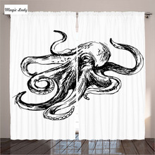 Light Shading Curtains Living Room Bedroom Marine Sketches Illustration Octopus Nautical Black White 2 Panels Set 145*265 sm