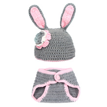 New arrival Hand Woven Character Rabbit Photography clothing Newborn Baby Pictures Baby Hat Crochet Wild Children Photo Props