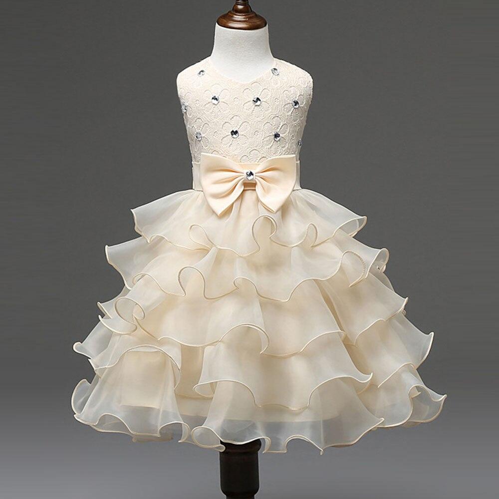 Dress Girls Dresses Summer 2017 Kids Dress with Diamond Bow Sleeveless Pageant Gowns Kids Baby Girl Wedding Dress Robe Fille<br><br>Aliexpress