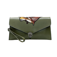women's envelope clutch bag embroidery bird  Crossbody Bags for women handbag 2 layers messenger bag large Ladies Clutches