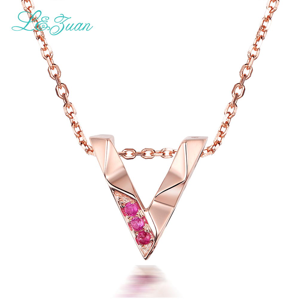 I&Zuan V Necklace Real 18K Rose Gold Natural 0.029ct Ruby Jewelry Red Stone Necklace&Pendant For Woman