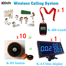 ( 1 Receiver + 1 Watch + 10 Transmitter Button ) Wireless Service Table Buzzer System Restaurant made in China Strong Signal