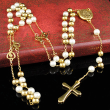 Gold&White Long Rosary Necklace New Fashion 6mm Beads Cross Pendant For Men Women Stainless Steel Catholic Jewelry HN092