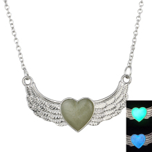 MJARTORIA Fashion Luminous Glow In the Dark Necklace Heart Wings Of Angel Pendant Necklace For Women Luminescent Jewelry