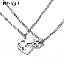 FUNIQUE Lovers' Collier Bff Statement Necklace Women Best Friends Necklaces Colar Friendship Heart Charm Pendent Gift for Girls