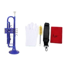 Blue Trumpet Bb B Flat Brass Phosphor Copper Exquisite with Mouthpiece Cleaning Brush Glove Strap