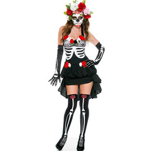 Adult Skeleton Day of The Dead Costume Women's Sexy Sugar Skull Dia Flower Fairy Black Halloween ghost vampire bride Fancy Dress