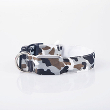 The New Camouflage  Dog Collar Nylon Camouflage Pattern LED Collar Pet Supplies Luminous Leads S M L XL