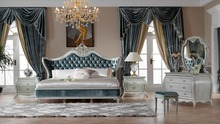 Italy style European classical white and  king size bedroom furniture set 0402-713