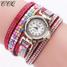 CCQ Rhinestone Beads Watch Women Fashion Leather Band Analog Quartz Wrist Watches Women Ladies Casual Bracelet Watches relogio(China)