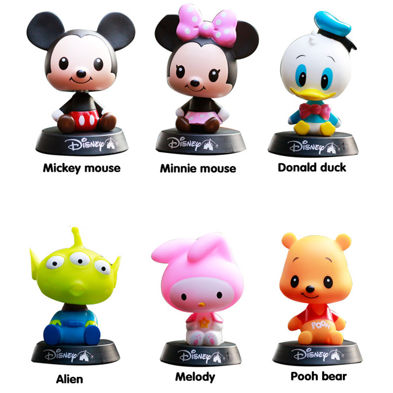 Minnie Mickey Mouse Pooh Bear Alien Melody Donald Duck Action Figure Toy 10cm Head Shaking Car Decoration Kids Toys Brinquedos<br><br>Aliexpress