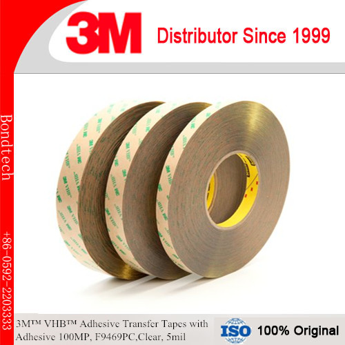 3M F9469PC VHB Adhesive Transfer Tape with Adhesive 100MP, Clear, 5mil  1INX60YD Pack of 2<br>