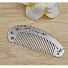 Engraved Your Logo Anti Static Stainless Steel Comb Multi-function Beauty Comb, Can Be Use As A Bottle Opener.  FH-10247