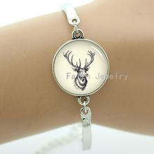 Abstract pencil art deer head bracelet buck elk with long antlers sign protect wild life jewelry handmade gift -1369