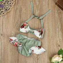 0-4 Years New Trendy Beach Children Clothing Kids Baby Girl Floral Swimsuit Swimwear Bathing Suit Bikini Set Clothes Outfits
