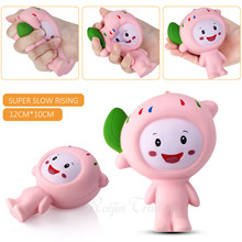 Kawaii Squishy Slow Rising 12CM Cartoon lemon Doll Phone Strap Bread Scented Soft Squeeze Cute Stretchy Kid Toy Gift Pendant