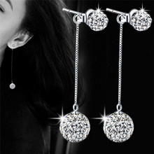2018 High Quality Silver Plated Shining Crystal Shambhala Long Tassel Earrings Shamballa Jewelry wholesale Dropshipping(China)