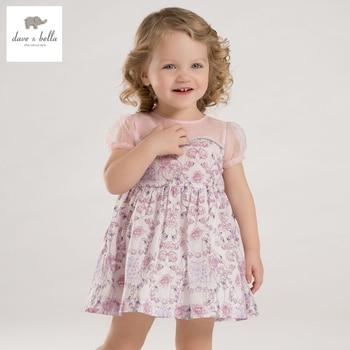 DB3547 dave bella baby girl verão violeta rosas flor imprimiu o vestido de bebê vestido de crianças vestido de aniversário crianças girs roupas trajes