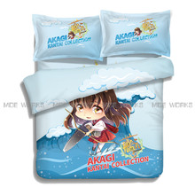 Sky Blue Anime Custom Made Kantai Collection Design 3D Printed Summer Bed Sheet Cheap Price High Quality Duvet Cover(China)
