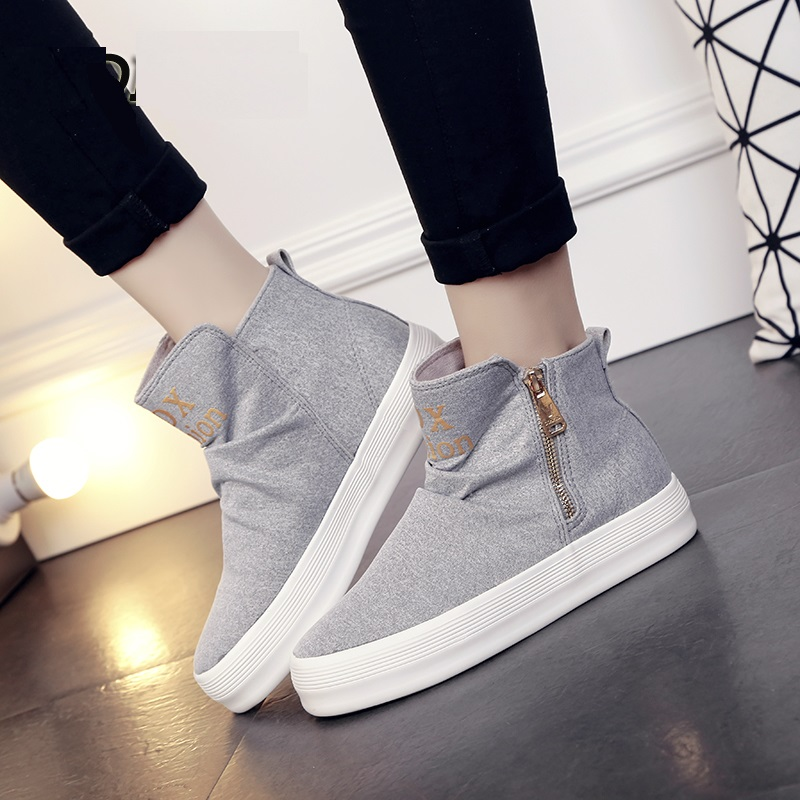 Han edition leisure female canvas shoes in the spring of 2016 the new zipper high help students sandals shoes for womens shoes<br><br>Aliexpress