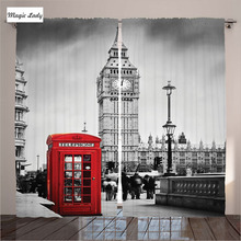 Living Room Curtains In Red Grey Color UK Decor Collection Telephone Booth Big Ben London England St Living Room Curtains In Re