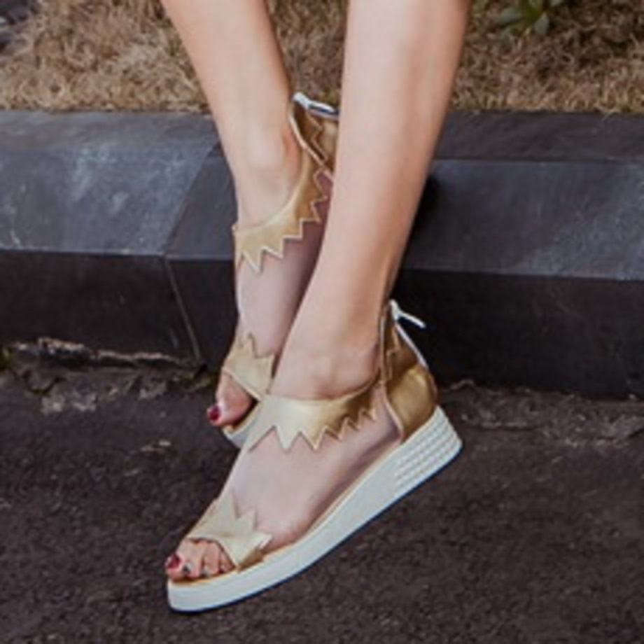 2016 summer Simple Women Shoes Zip Wedges med heel platforms Solid color patch Peep Toe sandals big size 33-43 T550<br><br>Aliexpress