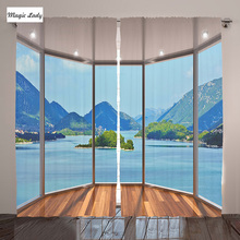 Curtains Window Decoration Collection Living Room Bedroom Mountains Trees Water Sea Green Blue Beige