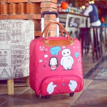 20 inch 47cmx21cmx38cm Polyester canvas Animal cartoon images trolley fixed casters travel duffle or bags for unisex