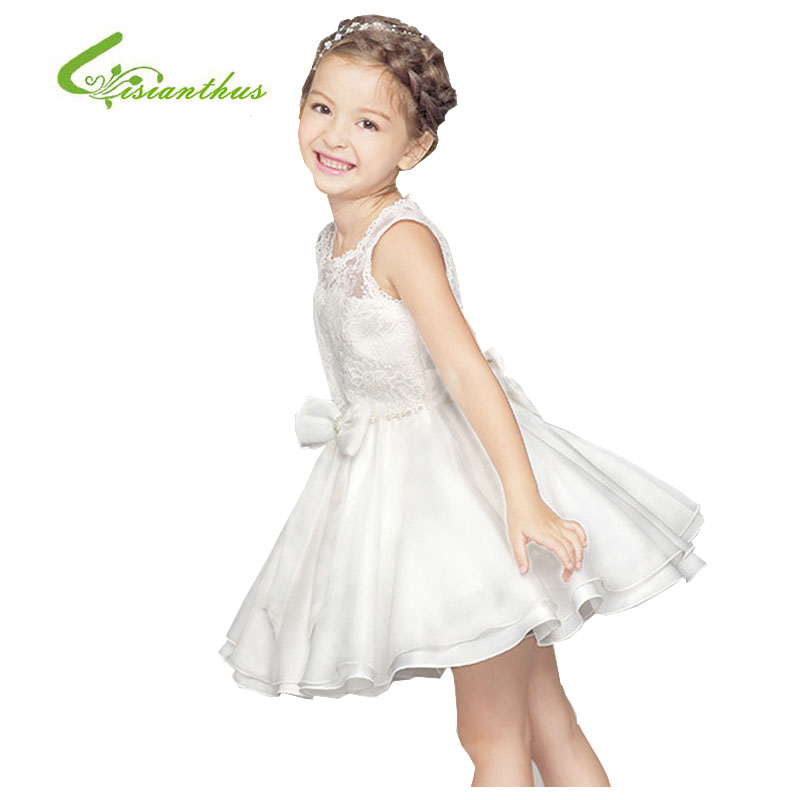 2017 Girls Baby Toddler Kids Summer Dress Flower Girl White Dress New Wedding Party Dress Princess Tutu Dress with Lace and Bow<br><br>Aliexpress