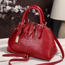 Luxury Brand Women Bags 2017 Designer Genuine Leather Bags For Women CrossBody Shoulder Chain Bags bucket Ladies Crocodile X42(China)