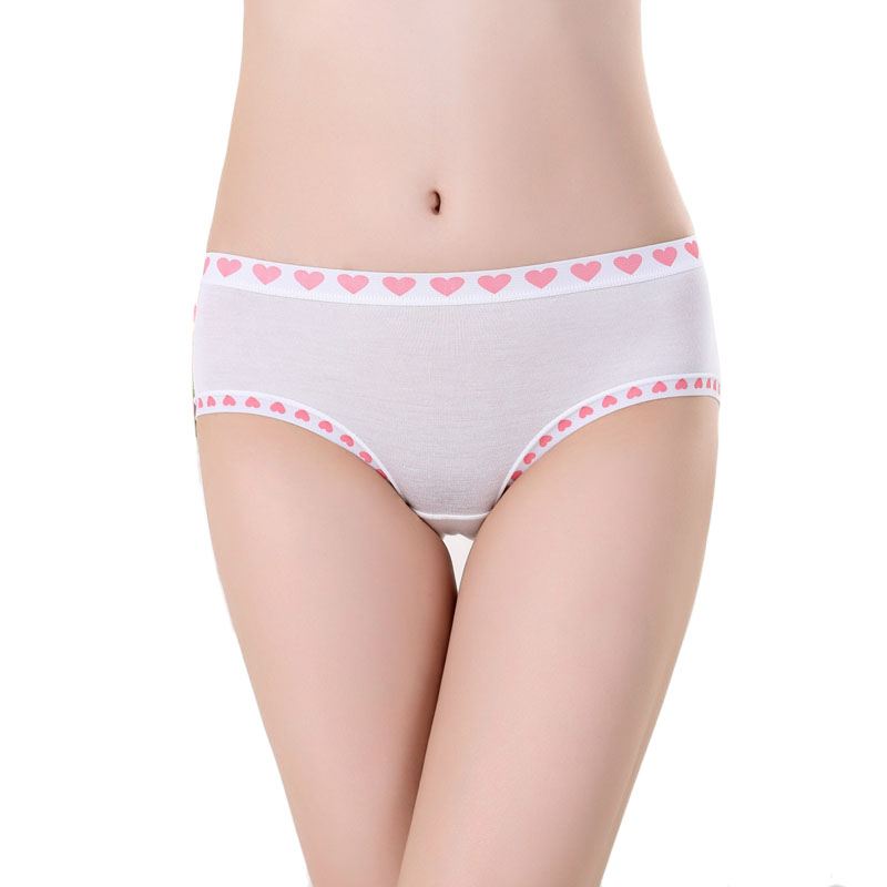 2017 New Arrival Bamboo Fiber Underwear Briefs Women Lovely Cute Heart Print Sexy Seamless Panties for Women Underwears Cotton(China (Mainland))