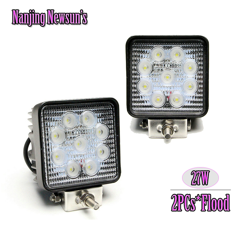 2x 27W Square Working Light Flood Beam 9*3W 27W Led Work Light For Moto Motorcycle Driving Headlamp Offroad Boat Outdoor Trail<br><br>Aliexpress