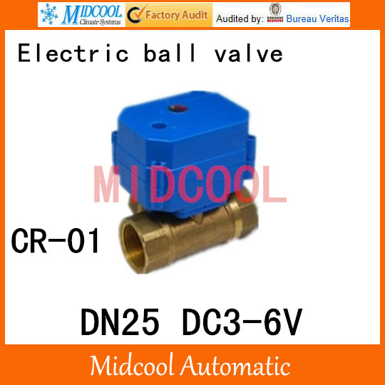 Brass Motorized Ball Valve 1 DN25 Water control Angle valve DC3-6V electrical ball (two-way) valve wires CR-01<br><br>Aliexpress
