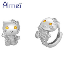 Almei Cartoon Animal Cat Earrings for Women Children Cute Korean Jewelry Rose Gold Color Ohrring Studs Earring Brincos R564P