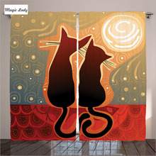 Insulated Curtains Living Room Bedroom Animal Decor Collection Cat Love Moon Sky Star Print Red Blac 2 Panels Set 145*265 sm