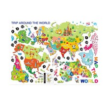 Removable Animal World Map Wall Sticker Vinyl Decal Art Mural Home Decor Wall Stickers for Kids Children Learning Study