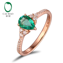 Unplated 14K Gold 5x7mm Natural Emerald & 0.19ct diamonds Engagement Classic Ring(China)
