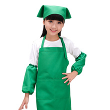 1 Set New Children Apron Kit Bowknots Apron With Sleeves Hat Big Pocket Design 6 Colors Kitchen Cooking Painting Set