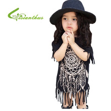Girl Tassel Basic Dress 2017 New Spring Summer T-shirt Basic Dress  Personality Style Casual Baby Child Black wild fringed Dress