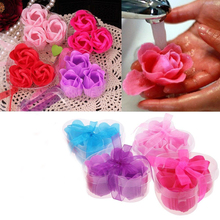 3Pcs Bath Body Rose Petal Flower Soap Heart Wedding Favor Decoration Party Gift