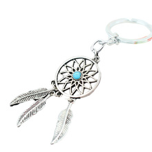 1 pcs 2017 7New Hot Ancient silver color Dreamcatcher Keychain Leaf feather tassel  dream catcher Key chain Ring
