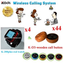 Wirelss Table Ordering Calling System With CE Certification 433.92MHZ For Hotel Restaurant(4 watch +44 call button)(China)