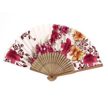Uxcell Chinese Japanese Folding Red Flowers Plastic Bamboo Frame Asian Hand Fan beige | black | blue | colorful | fuchsia | pink