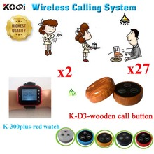 Wireless Call Bell System Cheap Restaurant Wireless Waiter Call Products,Paging Restaurant Equipment(2 watch + 27 call button)
