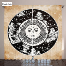 Curtains Blackout Bedroom Living Room Ethnic Sun Circle Esoteric Power Cosmos Black White Cream Art 2 Panels Set 145*265 sm Home