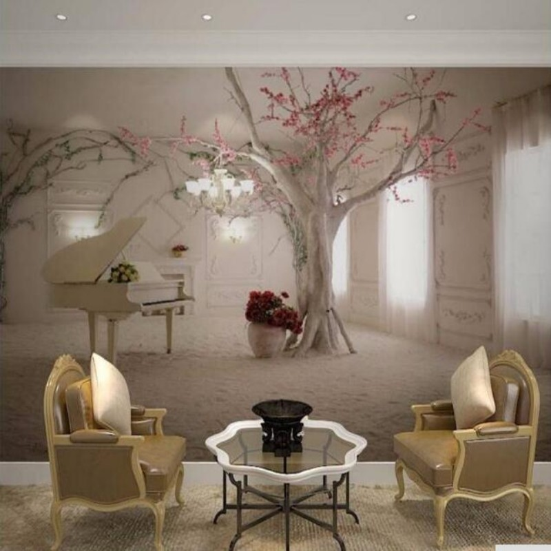 wallpaper Customize any size mural living room wallpaper, modern fashion beautiful snow, piano, tree 3D stereoscopic wallpaper<br><br>Aliexpress