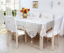 White Home hotel dining/wedding Red embroidered Table Cloth Jacquard Floral Rectangular Tablecloth